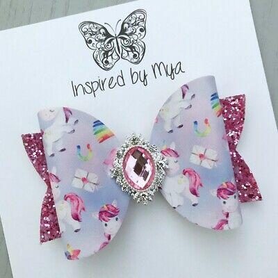 AU9.99 • Buy Hair Clip Girls Bow OR Baby Headband Hair Accessories Large Faux Leather Glitter