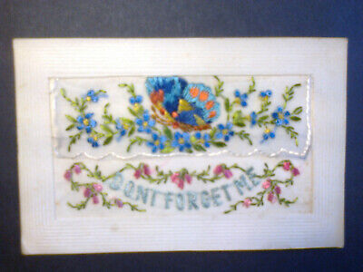 Ww1 Embroidered Silk Postcard With Butterfly • 4£