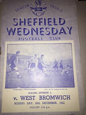 Sheffield Wednesday V West Brom Bromwich Albion 1952 - 1953 Football Programme • 4£