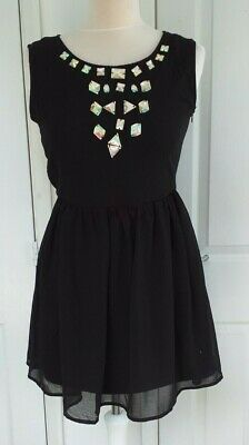 HEARTS And BOWS Black Chiffon Embellished Dress.10 Fully Lined • 0.99£