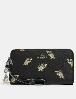 NWT Coach Party Owl Women's Large Phone Wallet W/ 2 Charms/Box $250 F80307 • 92.91£