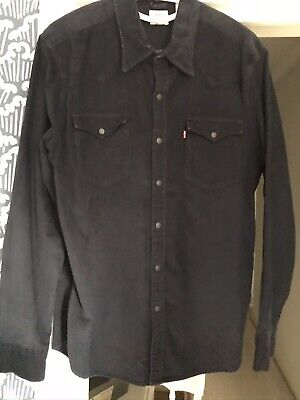 Levis Mens Navy Cord Shirt Size Large • 20£