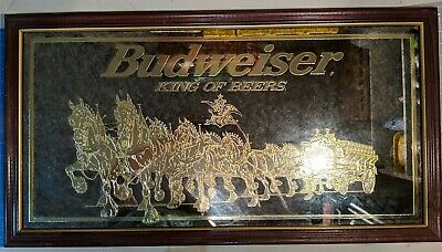 $ CDN214.10 • Buy Rare1998 Vintage Budweiser Beer GOLD 3D Clydesdale Smoked Mirror