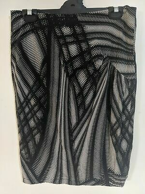 St-Martins Women's Skirt Size 36 Black Grey Abstract Pattern Zip-up Back • 13.86£