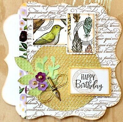 Handmade Susie Luxury Postage Stamps Bird Flower Nib Charm Birthday Card Topper • 1.99£