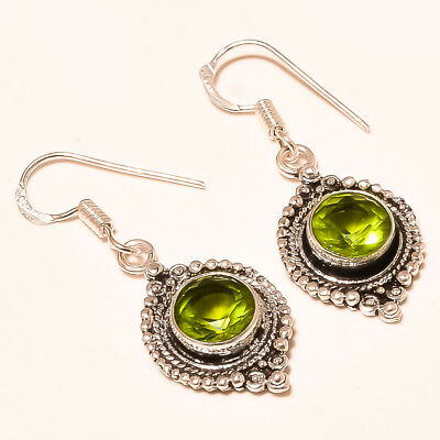 Faceted Peridot Topaz Gemstone 925 Silver Plated Earrings • 8.21£
