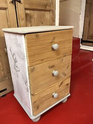 Washed Grey Pine Bedside Cabinet- Shabby Chic- Stags - Boutique • 20£