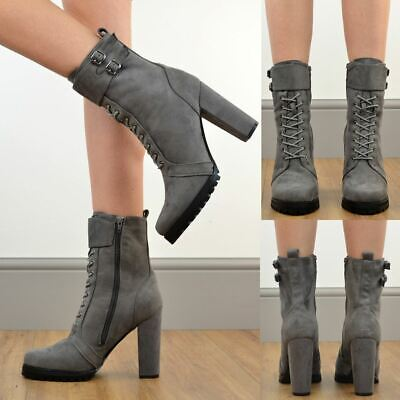 Womens Heels Ankle Boots Chunky Thick Sole Zip Up Winter Designer Shoes Size New • 8.99£