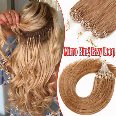 Russian 100% Human REMY Hair Extensions 18  20  22  Micro Ring Easy Loop GY073 • 28.62£