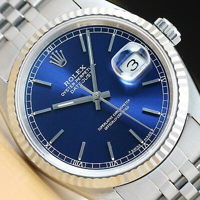 $ CDN5934.37 • Buy Mens Rolex Datejust 16234 Blue Dial 18k White Gold & Stainless Steel Watch