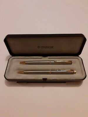 Parker Pen And Pencil Set, Brushed Steel, And Gold, Plus Box, Great  Condition • 16£