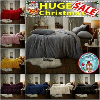 Teddy Bear Fleece Fitted Sheet OR Duvet Cover Set Sherpa Thermal Warm Bedding  • 11.99£