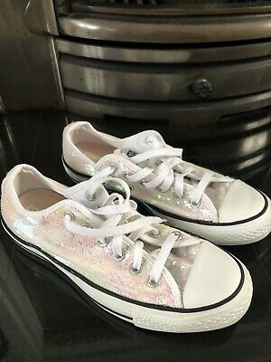 Womens Converse White Iridescent Mermaid Look Trainers Size 6 • 7£