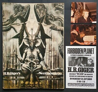 HR Giger's Necronomicon - Signed '78 1st Ed 1st Printing + Photos & Signed Flyer • 20£