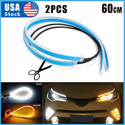 $8.79 • Buy Amber LED DRL Car Styling Daytime Running Light Strip For Headlight Accessories