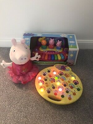 Peppa Pig Piano, Ring O Roses Plush Toy, Musical Phonics Talk & Learn Bundle VGC • 6£
