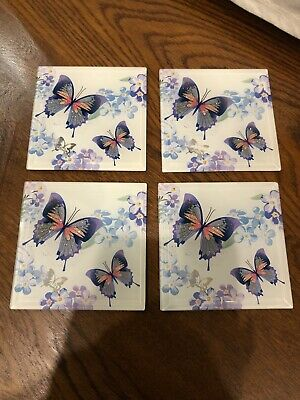 Set Of 4 Square Glass Drinks Coasters - Purple Butterfly Design • 5£
