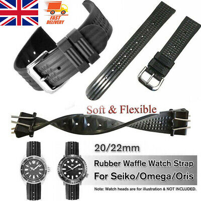 Width 20mm/22mm Rubber Black Buckle For Waffle Divers Watch Strap Band • 10.49£