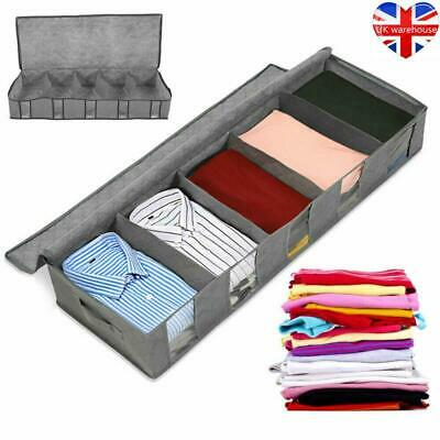 2X 5 Compartments Under Bed Storage Bag Large Capacity Clothes Organizer Box • 5.49£