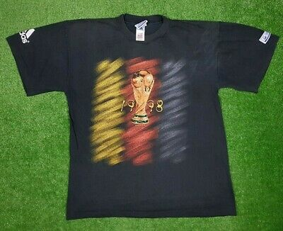 Vintage Adidas Official T Shirt France 1998 World Cup Germany Tribute 1974 Sz M • 17.36£