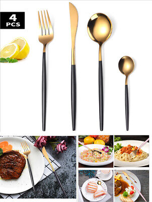 4Colors Stainless Steel Cutlery Sets Forks Dining Set Tableware Party Xmas Gift • 12.89£