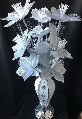 Silver & White Romany Mirror Finish Vase 40CM With White & Silver Flowers. • 31.50£