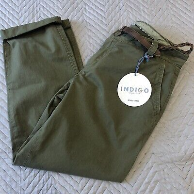 BNWT M&S Indigo Size 12 Med Ladies Cotton Chinos Trousers Khaki Cropped Belted  • 16.14£