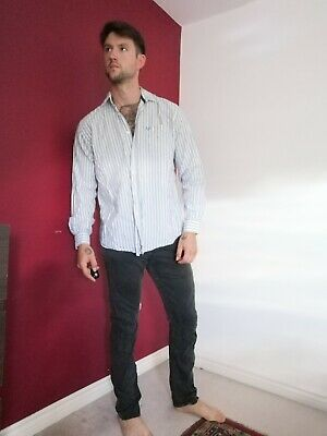 Mens Lincoln Long Sleeved Casual Smart Shirt Size L Blue And White Very Nice • 0.99£
