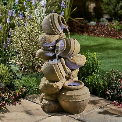 Serenity Cascading Pots Water Feature LED Self Contained 72cm Garden Fountain • 99.99£