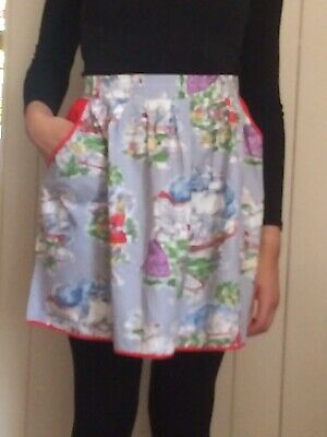 True Vintage 1950s/1960s Half Pinny Apron Retro Blue Red Boats Pictures • 10£