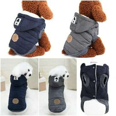 Warm Padded Dog Jacket Chihuahua Pet Winter Hoodie Puppy Cat Clothes Outfit Coat • 11.24£