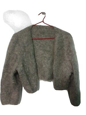 Grey Mohair Cardigan Soft Fluffy One Size Handmade Hand Knit Mint Condition • 10£
