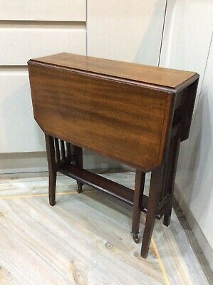 Vintage ,old Occasional Drop Leaf Table , Solid Mahogany, Inlaid ,Pot Wheels • 55£