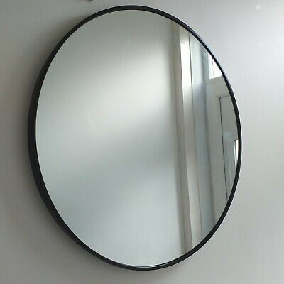 Large Round Black Industrial Style Metal Frame Wall Mirror Vintage Mirror New • 44.50£