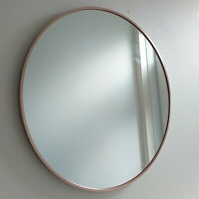 Large Round Rose Gold Industrial Style Wall Mirror Metal Frame Round Mirror New • 44.50£