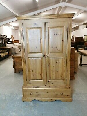 Solid Pine 2 Door Wardrobe With 1 Drawer *FREE DELIVERY*  • 225£