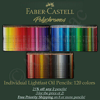 Faber Castell Polychromos Oil Pencils, Individual: 120 Colors. Qty Discounts 2+ • 4.80£