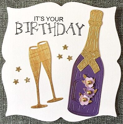 Handmade By Susie Luxury Prosecco / Champagne & Flowers Birthday Card Topper • 1.99£