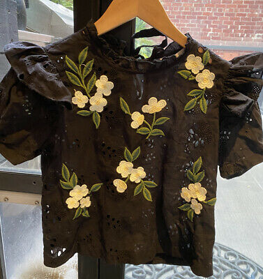 AU10 • Buy Zara Collection Black Blouse Shirt With Embroidery Size XS 6