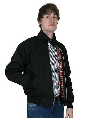 Men's Harrington Jacket Black Bomber Zip Front Tartan Lined Skinhead Mods Relco • 34.99£