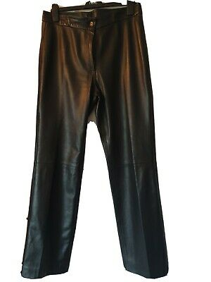 Womens Black Leather Jeans • 15£