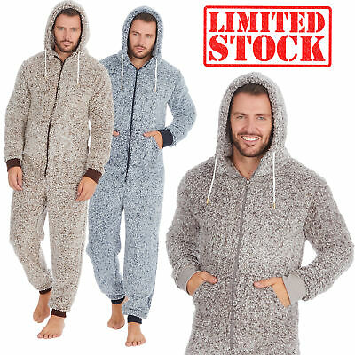 0Onesie Mens Frosted Sherpa Snuggle Fleece Hooded Jumpsuit Zip Up One Piece Warm • 22.99£