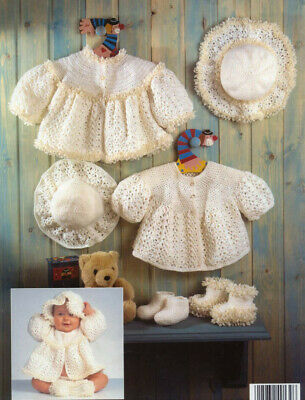 Crochet Pattern 2658.  Baby Matinee Jacket, Hat & Bootees.  12-22 Inch Chest. • 0.99£