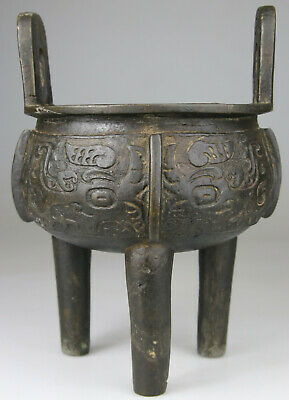Antique Rare Chinese Bronze Censer Vase Incense Carved - Ming Qing 17th 18th • 10.11£