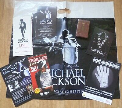 Michael Jackson Mixed Bundle, Exhibition Playing Cards (unopened), Flyers & Bag • 10£