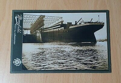 Old Cabinet Card With Print Or Photograph Of White Star Line Titanic At Belfast. • 49£