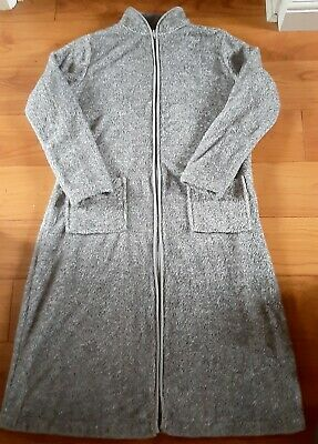 M & S Grey Zip Front Cozy Fleece Dressing Gown/Housecoat. Size 16/18. Good Cond. • 3.20£