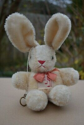 VINTAGE 1950's REUGE MUSICAL BOX MOHAIR TOY RABBIT SWITZERLAND PULL STRING • 4.99£