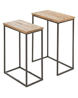 NEW Nest Of  2 Tables Pinewood & Metal • 50£