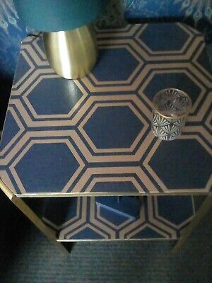Upcycled Art Deco Side Table In Navy And Gold • 150£